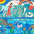 Woman And Blue Elephant Beside The Lake by Sushila Burgess