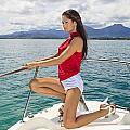 Woman At Kaneohe Bay by Tomas del Amo - Printscapes