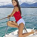 Woman Boating At Kaneohe by Tomas del Amo - Printscapes