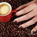 Woman Hand Holding A Cup Of Latte by Oleksiy Maksymenko