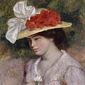 Woman In A Flowered Hat by Pierre Auguste Renoir