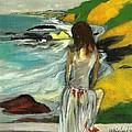 Woman In Sheer Dress By Sea 3d by Harry WEISBURD