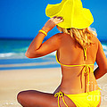 Woman On The Beach by MotHaiBaPhoto Prints