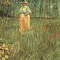 Woman Walking In A Garden by Vincent Van Gogh