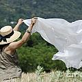 Woman With A White Sheet by Mats Silvan