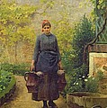Woman With Watering Cans by L E Adan