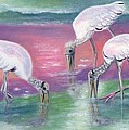 Wood Stork Family At Sunset by Jeanne Kay Juhos