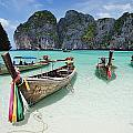Wooden Boats In Maya Bay by Axiom Photographic