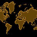 World Map Gold by Andrew Fare