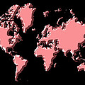 World Map Pink by Andrew Fare