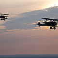 World War I Triplanes In Flight by Pete Ryan