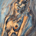 Worried Young Nude Female Teen Leaning And Filled With Angst In Orange And Blue Watercolor Acrylics by M Zimmerman