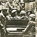 Yankee Soldiers Around A Piano by Photo Researchers