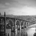 Yaquina Bay Bridge Oregon B And W by Joyce Dickens