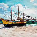 Yellow Boat Docking On The Shore by Christopher Shellhammer