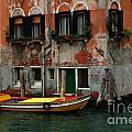 Yellow Boat Venice Italy by Bob Christopher