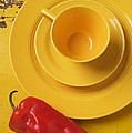 Yellow Cup And Plate by Garry Gay