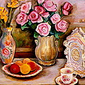 Yellow Daffodils Red Roses  Peaches And Oranges With Tea Cup  by Carole Spandau