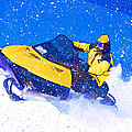 Yellow Snowmobile In Blizzard by Elaine Plesser