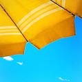 Yellow Umbrella With Sea And Sailboat by Silvia Ganora