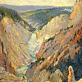 Yellowstone Falls And Hoodoos by Lewis A Ramsey