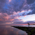 Yoga Dancer Asana On Beach Jetty by Stephanie McDowell