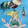 Yoga Girl With Cock - Bottle Of Wine And Egg by Fabrizio Cassetta