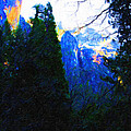 Yosemite Snow Mountain Tops . Vertical Cut by Wingsdomain Art and Photography