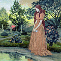 Young Girl In A Garden  by Eugene Grasset