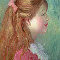 Young Girl With Long Hair In Profile by Pierre Auguste Renoir