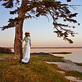 Young Lady In Edwardian Clothing By The Sea by Jill Battaglia