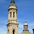 Zaragoza Basilica Bell Tower And Beautiful Detailed Moulding Work In Spain by John Shiron