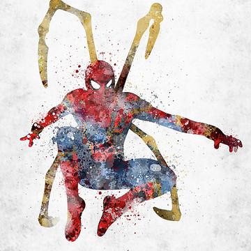 Superheroes and villains watercolor art