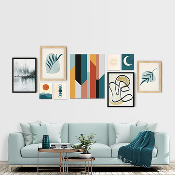 Wall Gallery Curation - Trendy Teal