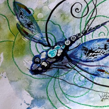 Abstract Dragonfly Art