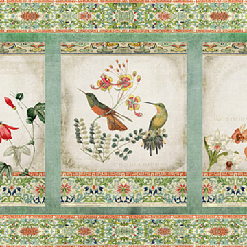 Birds - Chinoiserie Hummingbird n Floral Vintage Collection