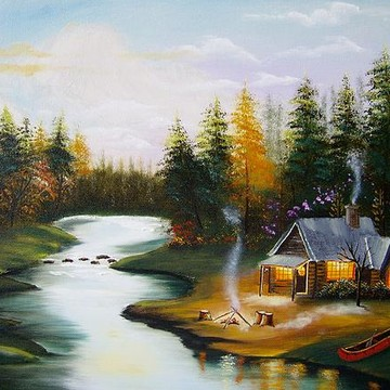 Cabins in the forest and lakes