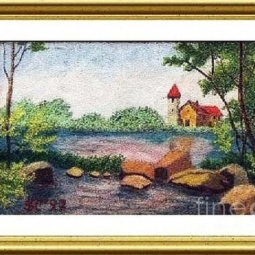 Color pencil's paintings on Silk