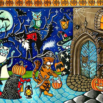 Halloween Cat Art Collection