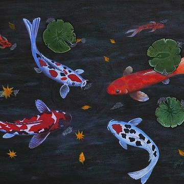 Koi Fishes Birds Water Collection