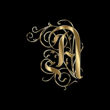 Ornamental Gold Letters Typography Collection
