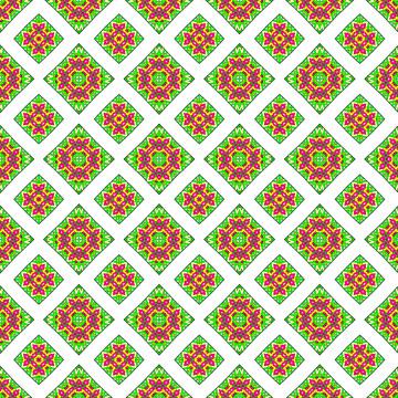 Pink Green Yellow and White Abstract Collection Collection