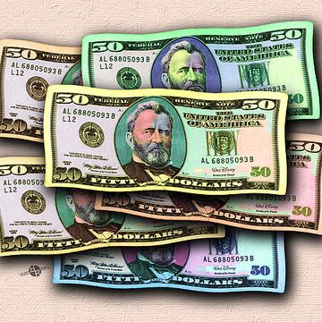 Rubino American 50 Dollar Bill Pop Art Series Collection