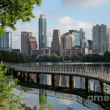 The Boardwalk Trail Bridge scenic skyline view over Lady Bird Lake Print Image Gallery