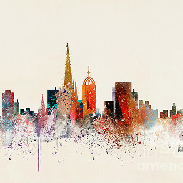 Watercolor City Skylines Warm Collection
