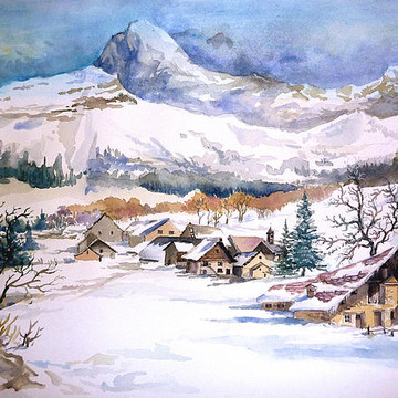 Watercolor houses and lakes landscapes Collection
