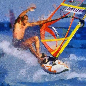 Windsurfing and kite surfing paintings Collection