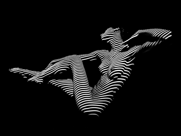 0043 Dja Bw Zebra Woman Striped Girl Topographic Abstract Sensual Body Art Throw Pillow For Sale By Chris Maher