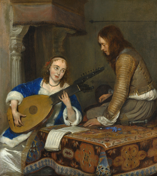 THE MUSIC LESSON WOMAN PLAYING THE LUTE GUITAR PAINTING ART REAL CANVAS PRINT