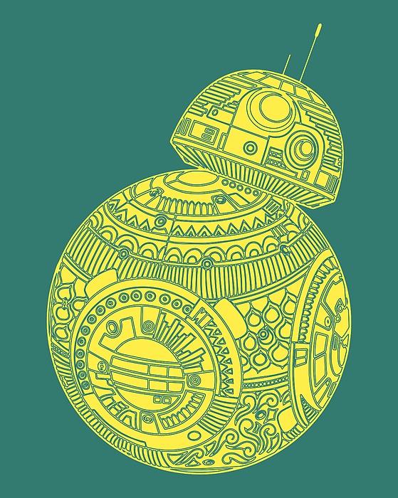Bb8 Droid - Star Wars Art, Yellow Mixed Media